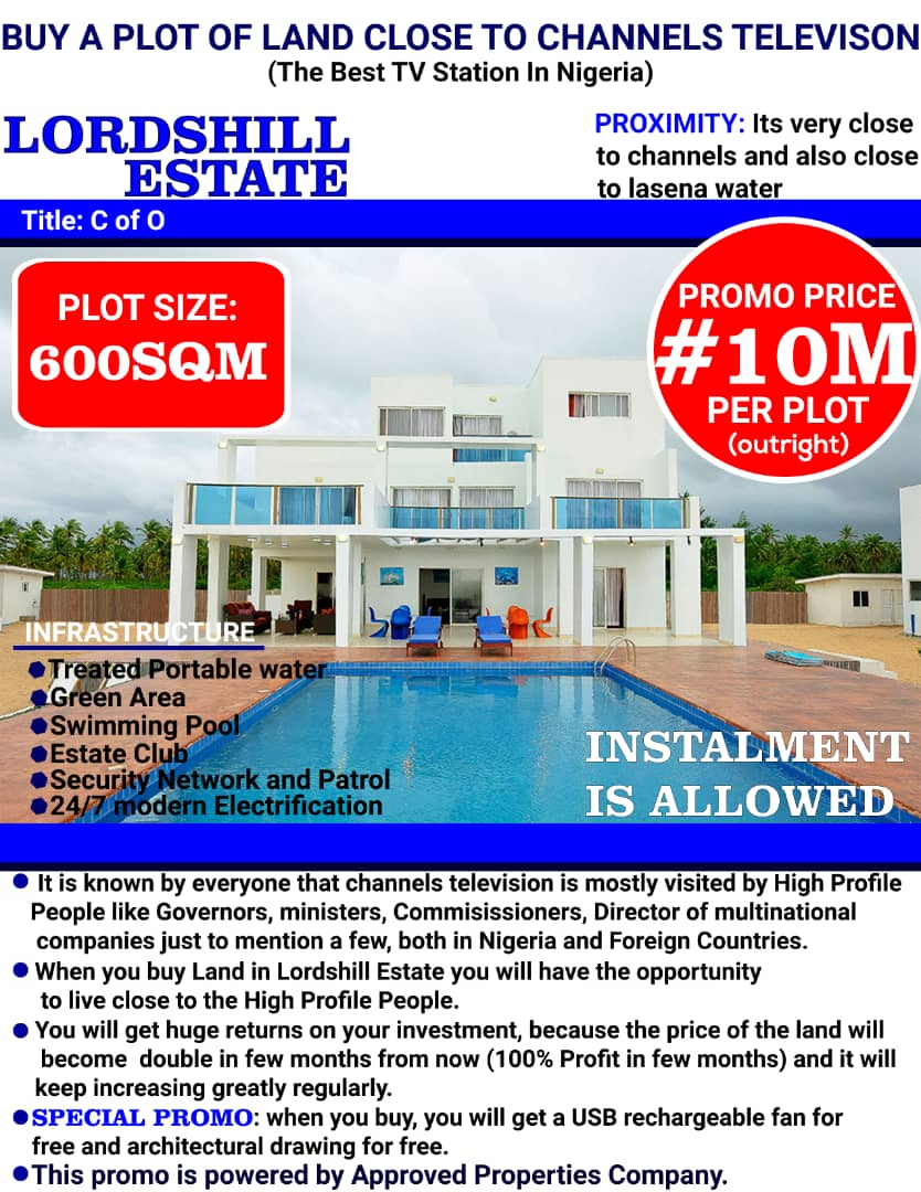 BUY A PLOT OF LAND CLOSE TO CHANNELS TELEVISION (The Best TV Station In Nigeria)